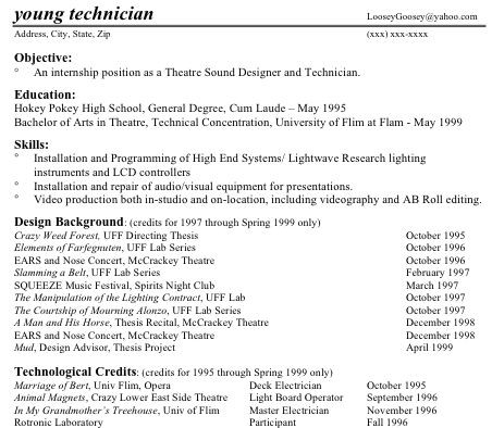 technical theatre resume guide - Technical Resume Examples